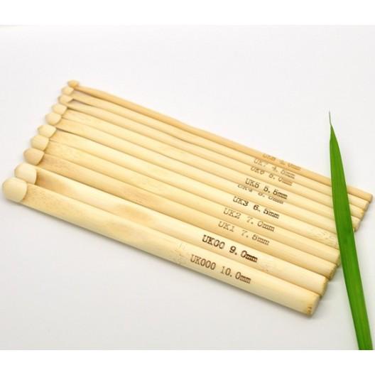Juego de Ganchillo sencillo de bambu sin tratar